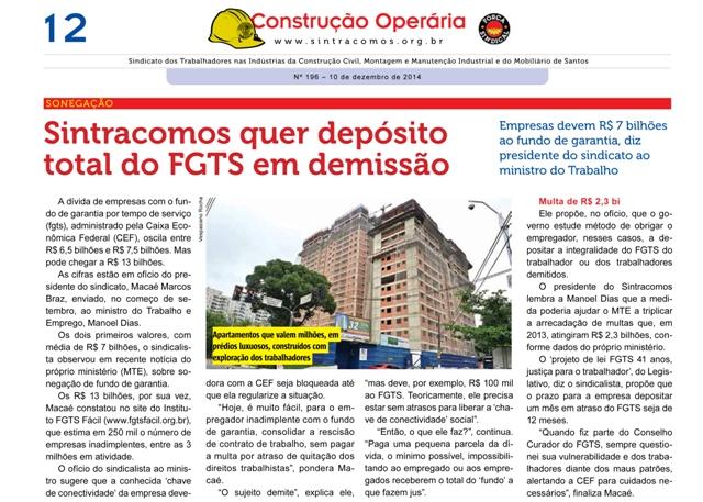 Sintracomos quer depósito total do FGTS em demissão