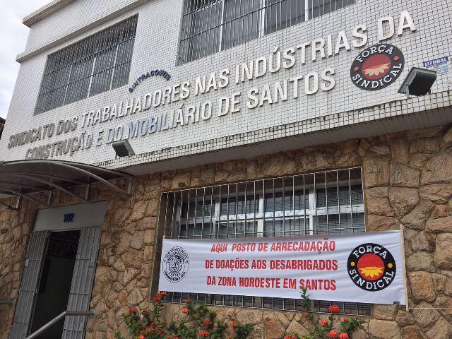 Sindicato amplia postos de arrecadação  a desabrigados por incêndios em Santos