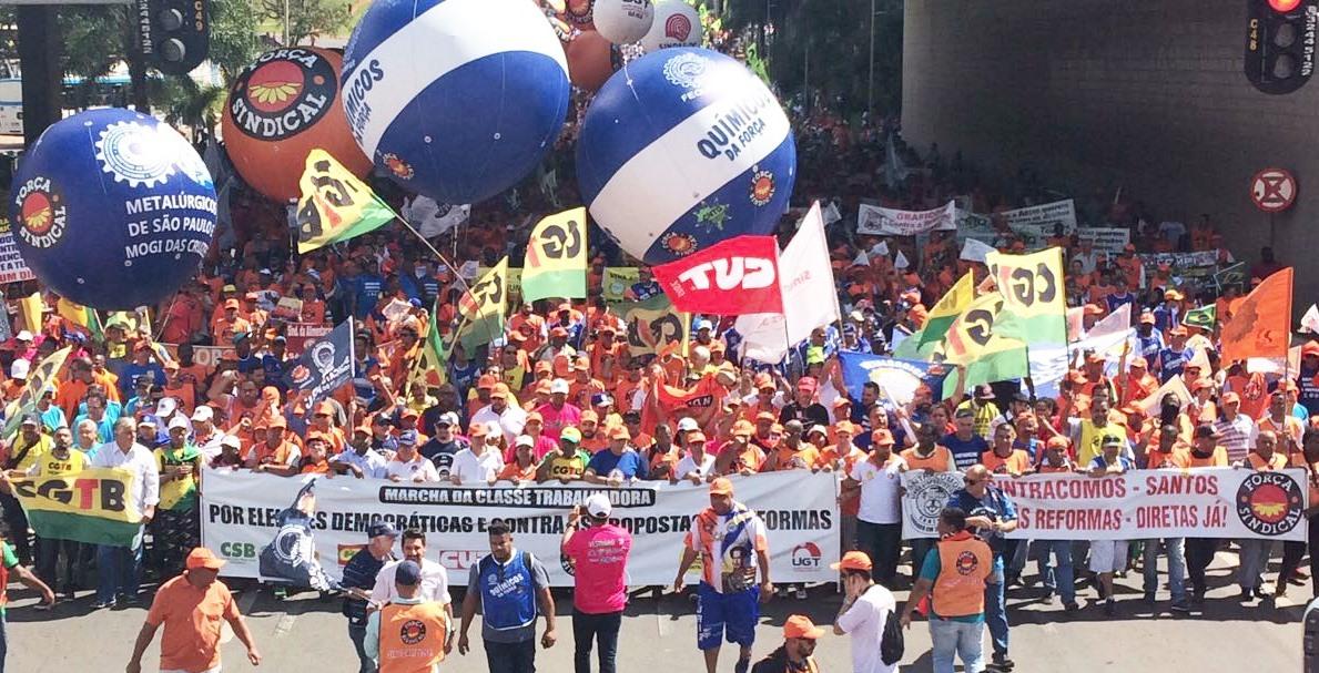 Sintracomos participa em Brasilia de protesto contra as Reformas do governo Temer